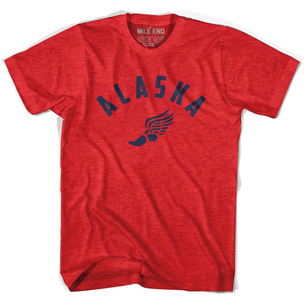 Alaska Track T-shirt in Heather Red by Mile End Sportswear