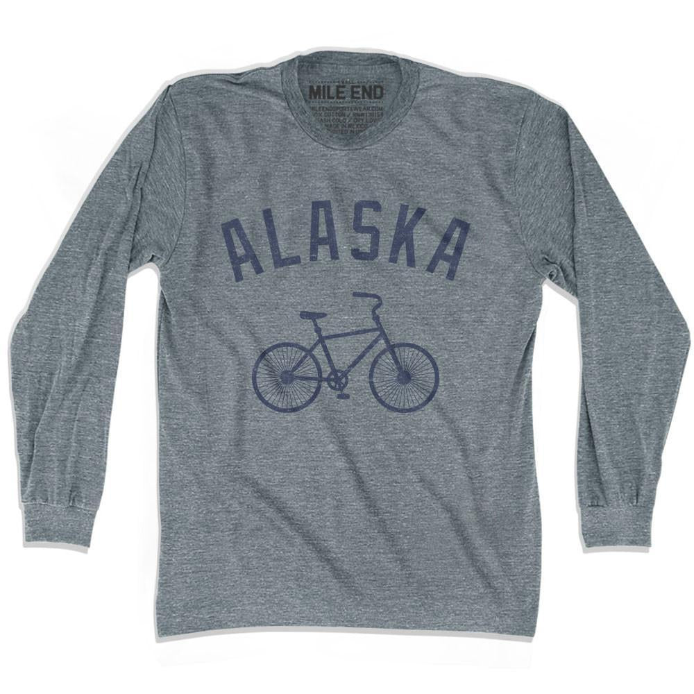 Alaska Vintage Bike T-shirt Long Sleeve in Athletic Grey by Mile End Sportswear