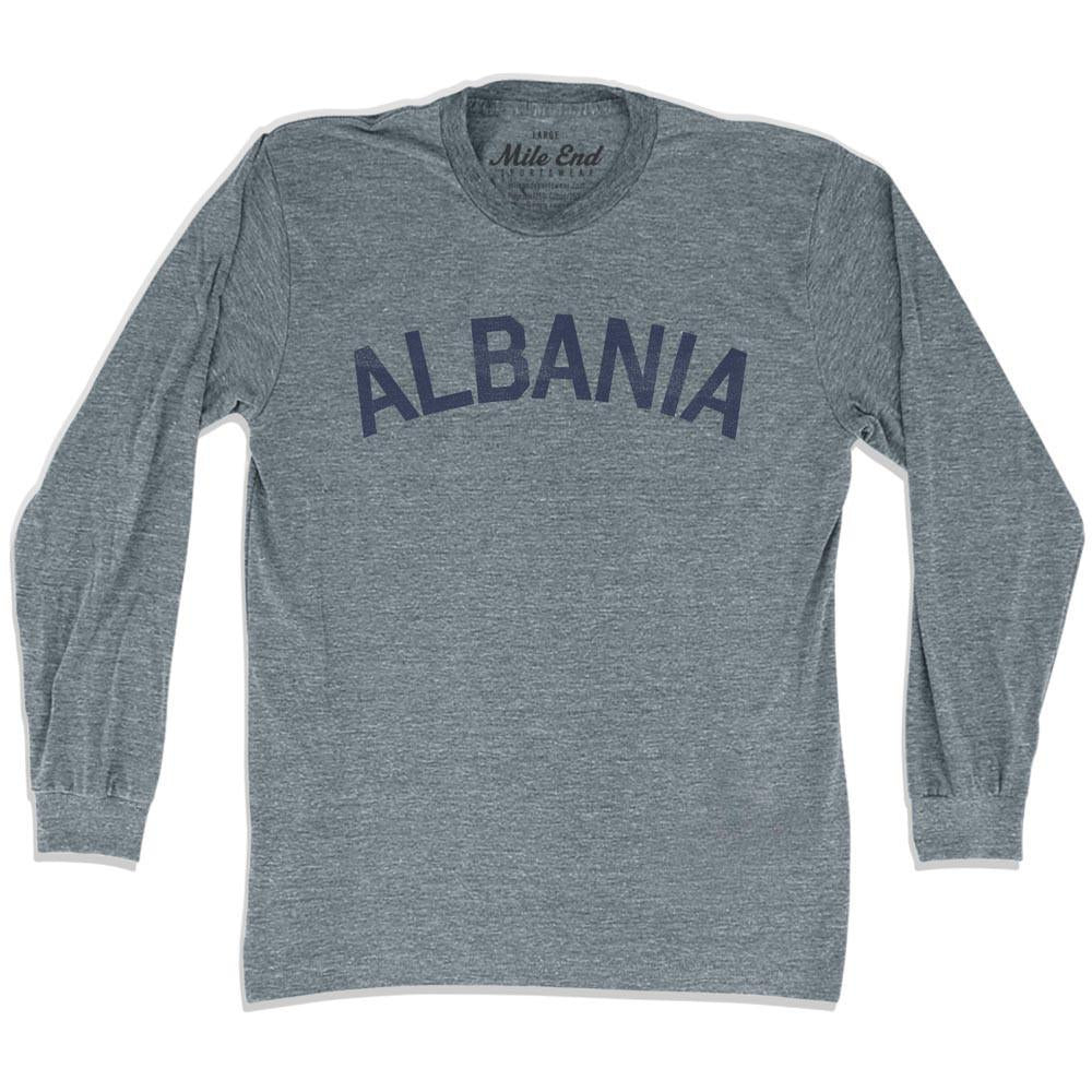Albania City Vintage Long Sleeve T-shirt in Athletic Grey by Mile End Sportswear