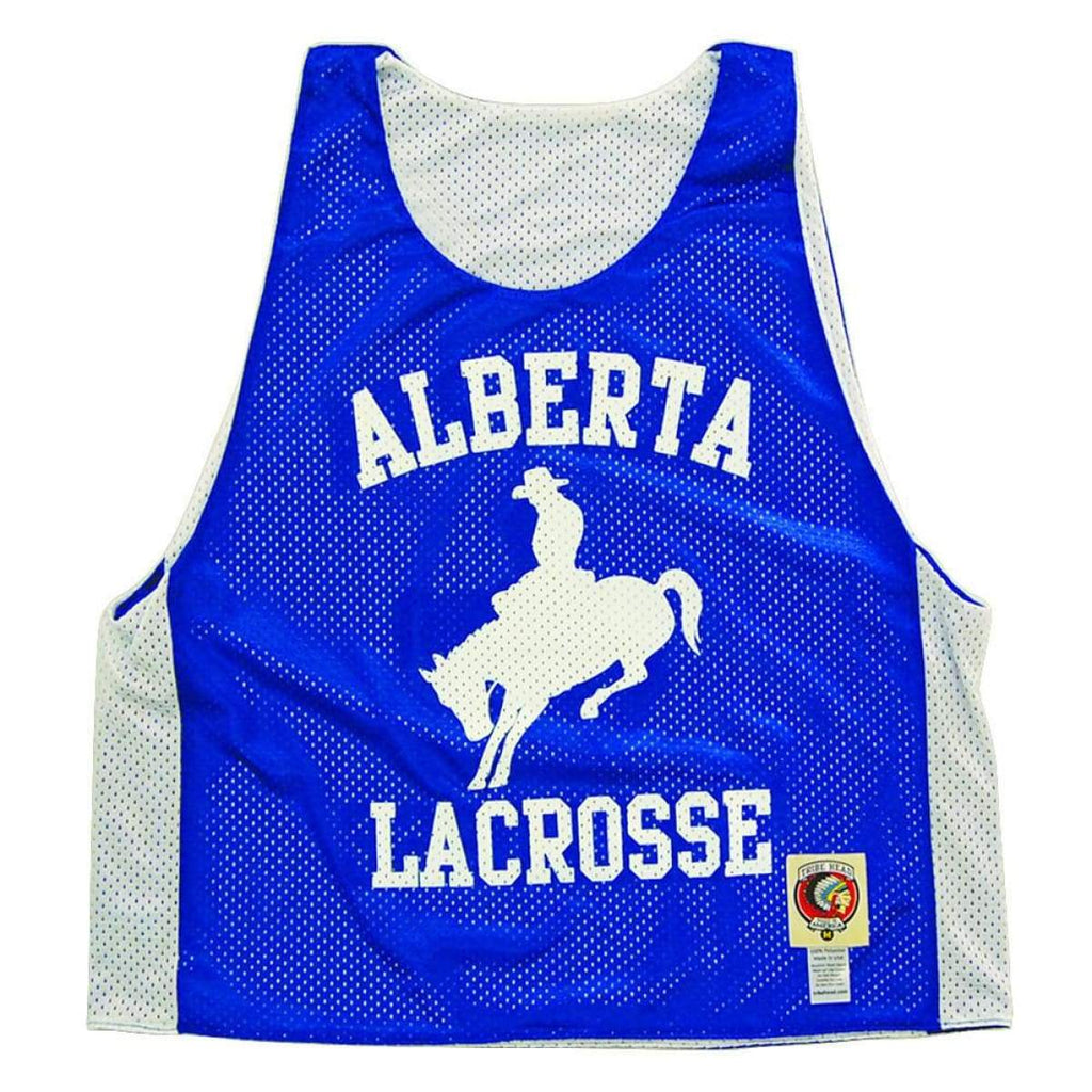 Alberta Lacrosse Pinnie - Royal / Youth Large - Graphic Mesh Lacrosse Pinnies