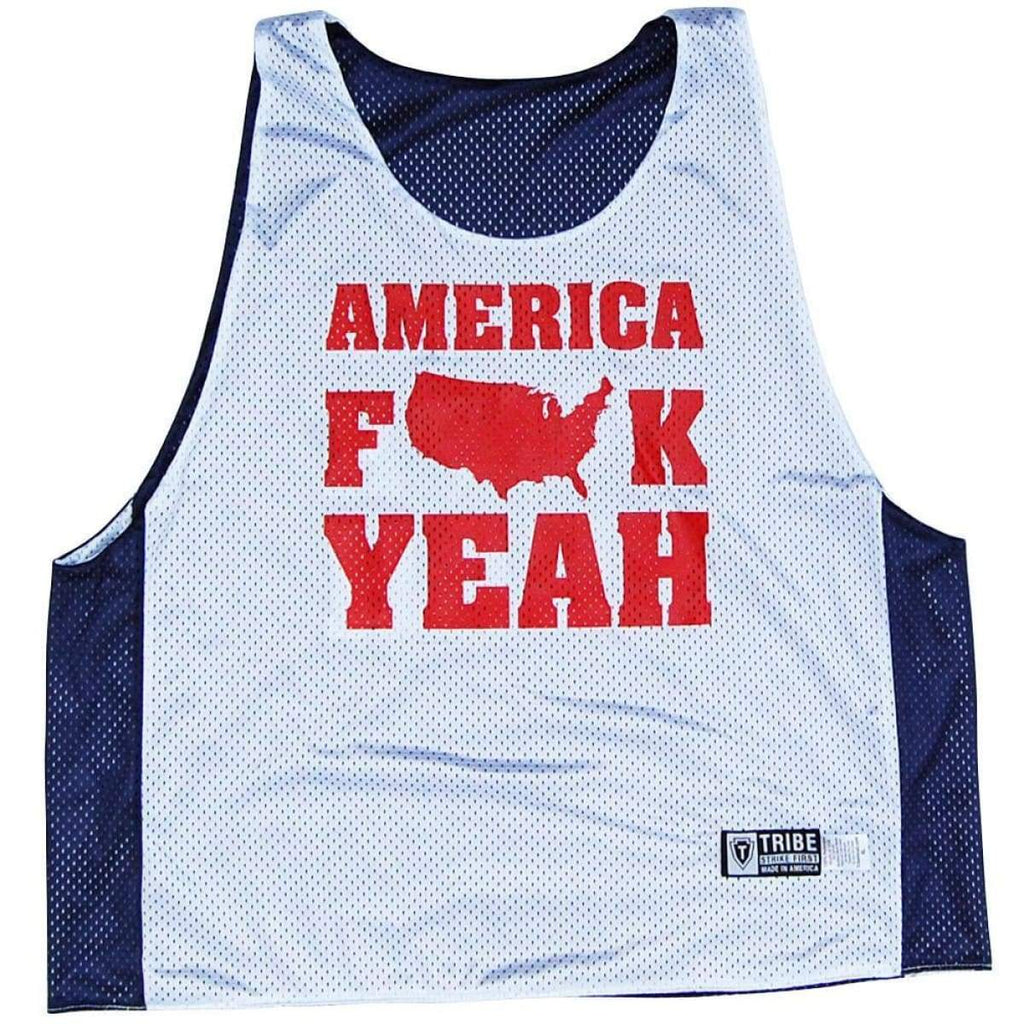 America F Yeah Lacrosse Pinnie - Graphic Mesh Lacrosse Pinnies