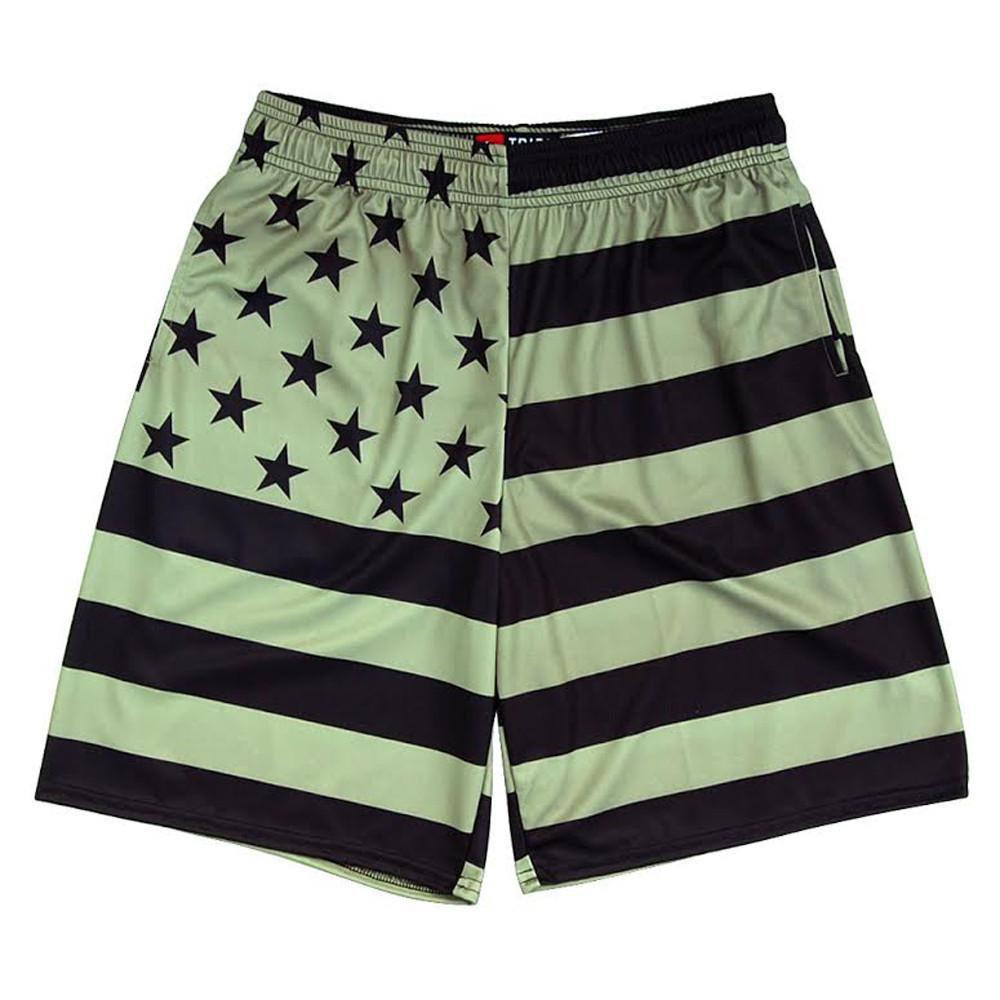 American Flag Army Color Lacrosse Shorts in Army & Black by Tribe Lacrosse