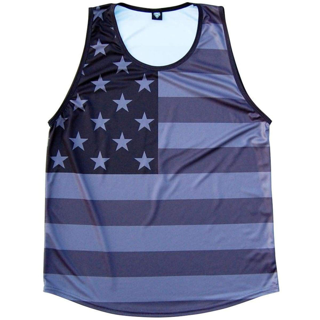 American Flag Black Out Sport Tank - Black / Youth X-Small - Tank Top