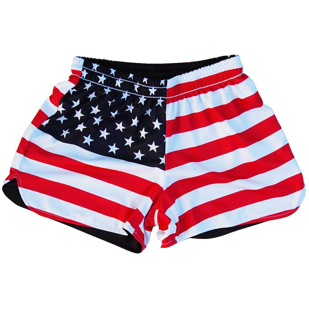 Women's American Flag and Eagle Sublimated Reversible Lacrosse Shorts in Red and Black by Tribe Lacrosse