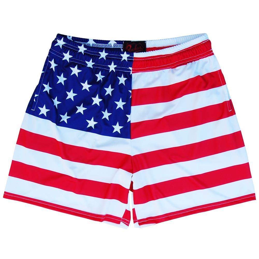 American Flag Rugby Shorts in Red by Ruckus Rugby