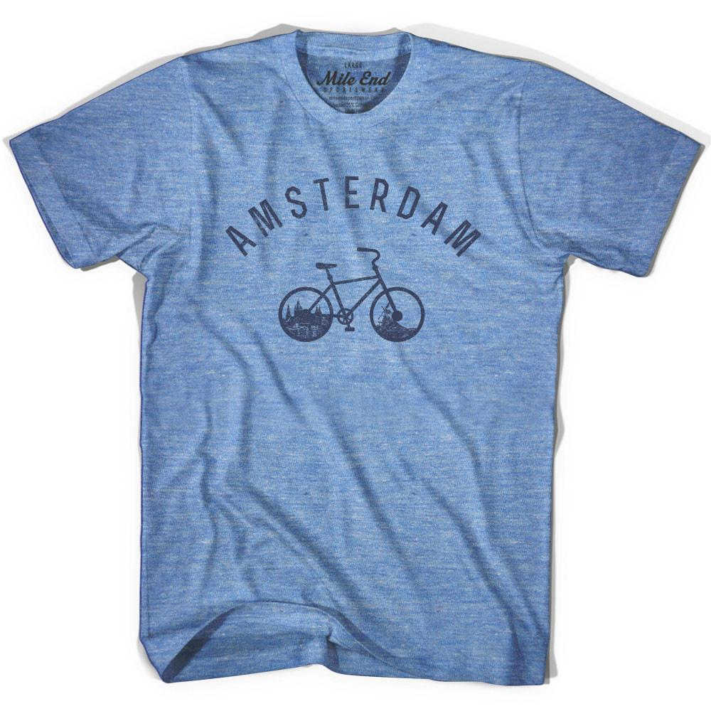 Amsterdam Vintage Bike T-shirt in Athletic Blue by Mile End Sportswear