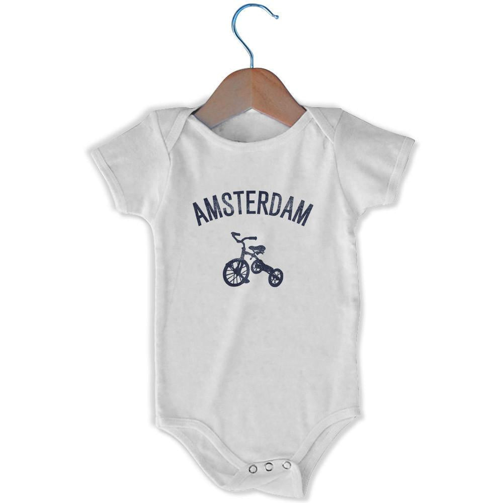 Amsterdam City Tricycle Infant Onesie in White by Mile End Sportswear