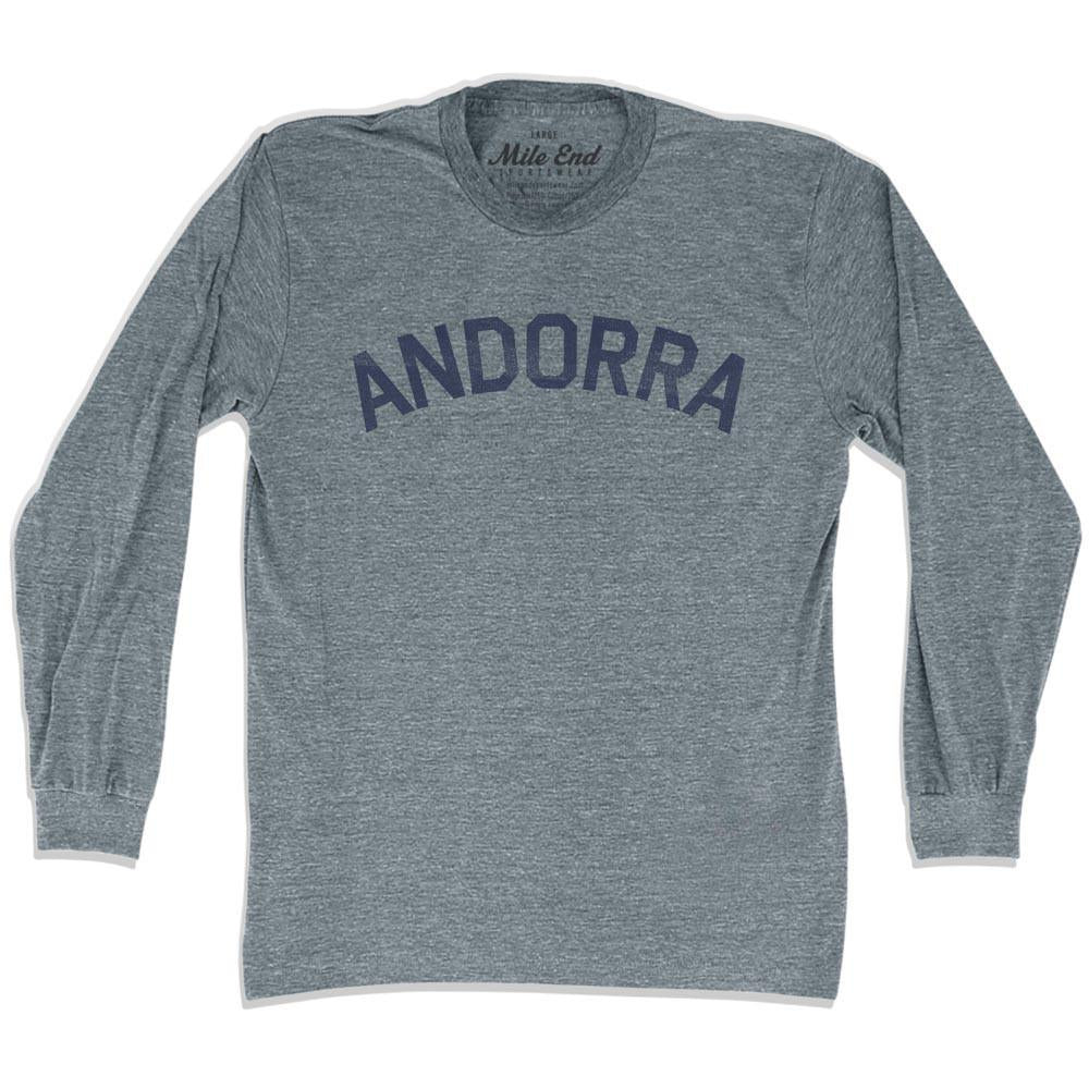 Andorra City Vintage Long Sleeve T-shirt in Athletic Grey by Mile End Sportswear