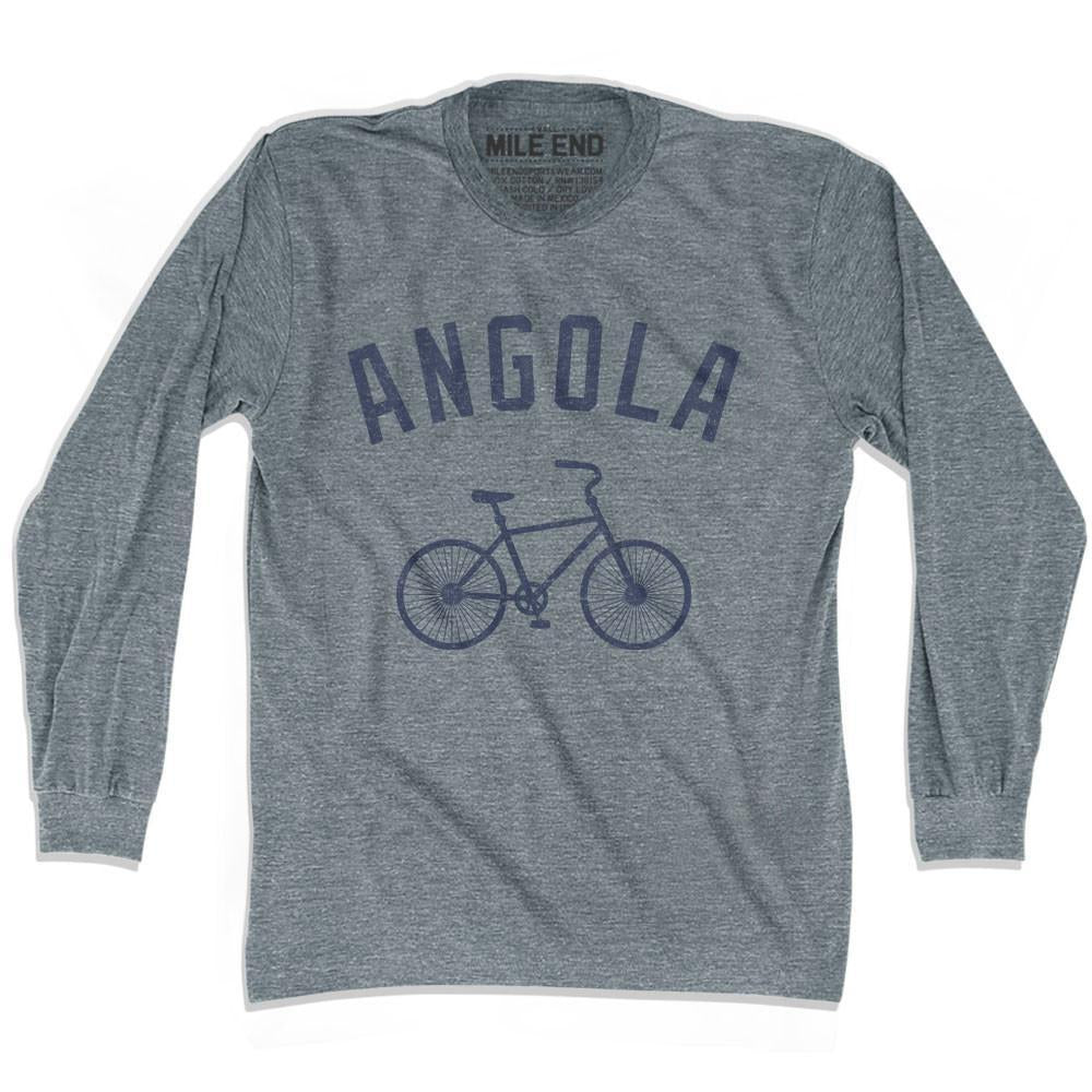 Angola Vintage Bike T-shirt Long Sleeve in Athletic Grey by Mile End Sportswear