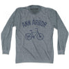 Ann Arbor Vintage Bike T-shirt Long Sleeve in Athletic Grey by Mile End Sportswear