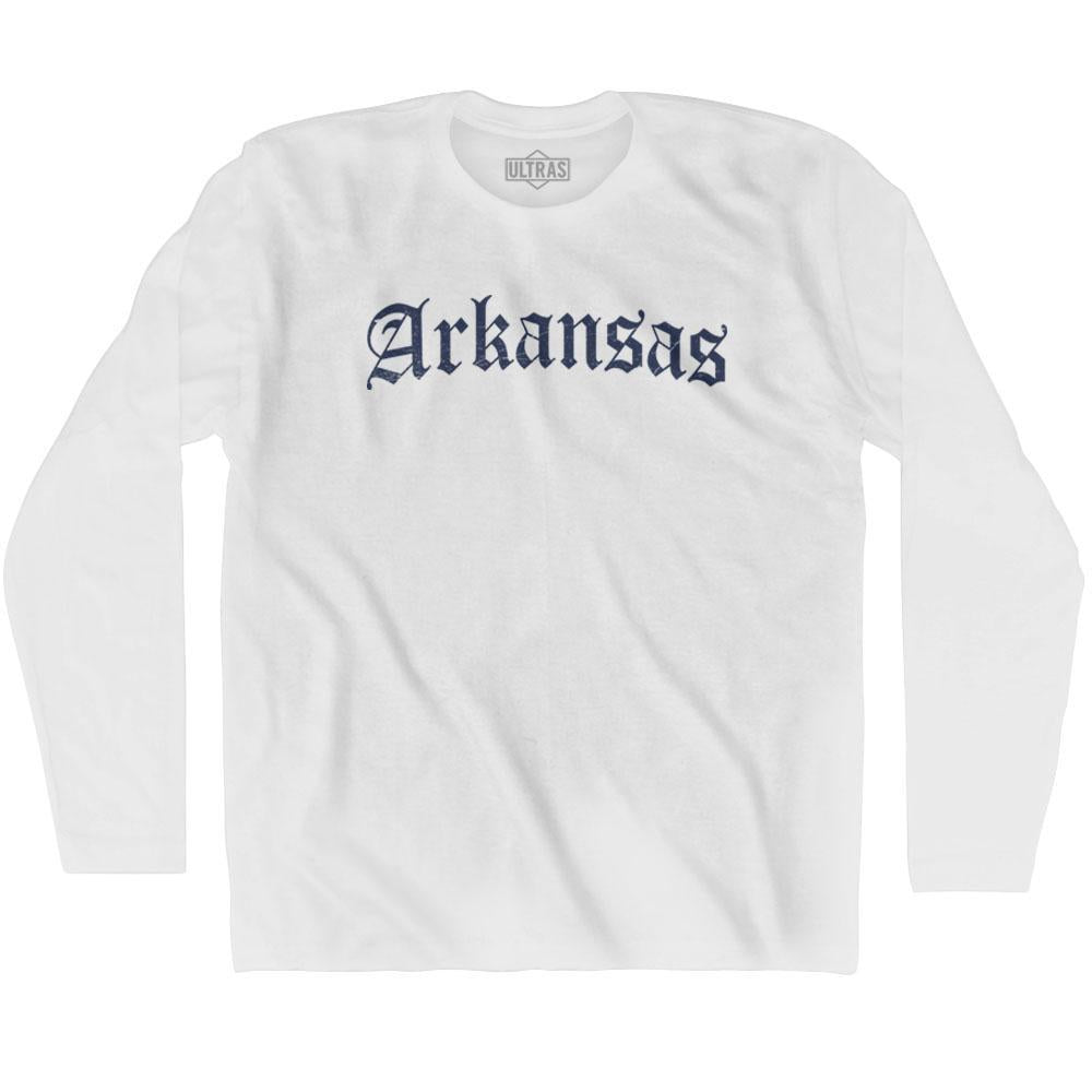Arkansas Old Town Font Long Sleeve T-shirt By Ultras