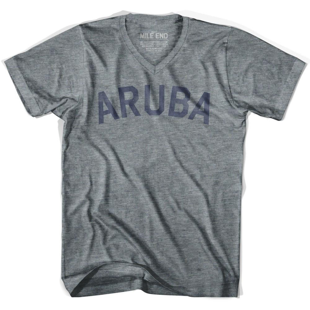 Aruba City Vintage V-neck T-shirt in Athletic Grey by Mile End Sportswear