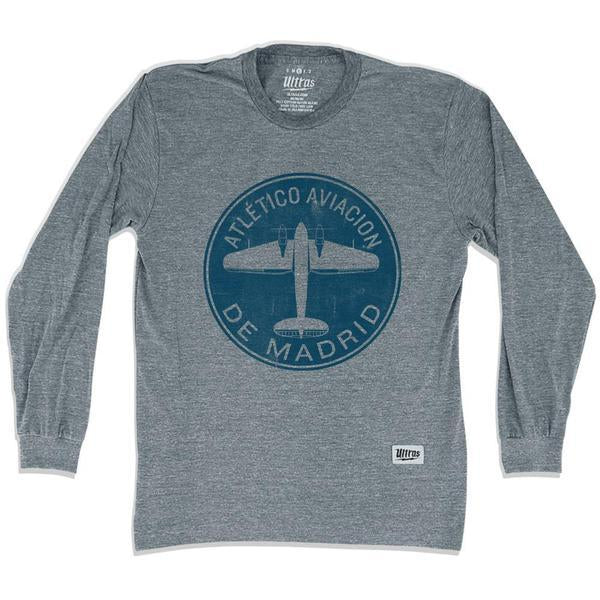 Atletico Madrid Round Plane Soccer Long Sleeve T-shirt in Athletic Grey by Ultras