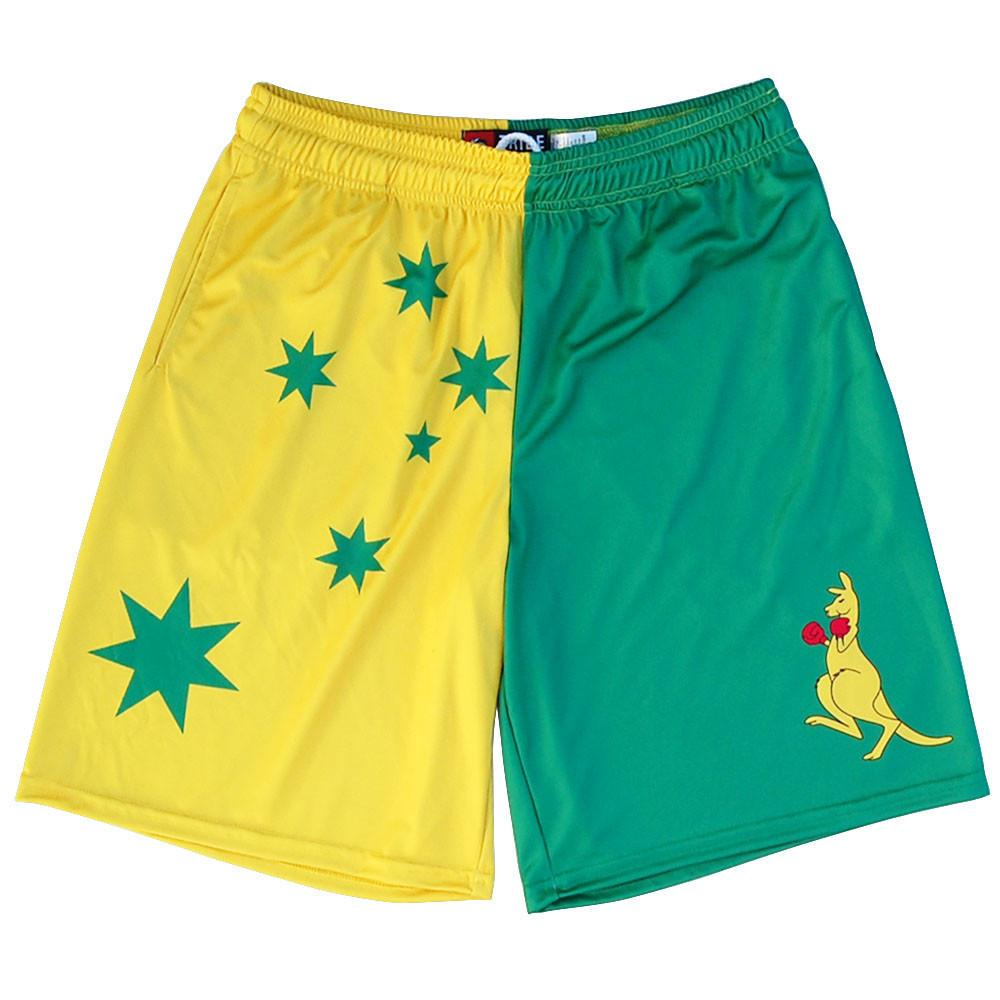 Australia Boxing Kangaroo Lacrosse Shorts in Green and Yellow by Tribe Lacrosse