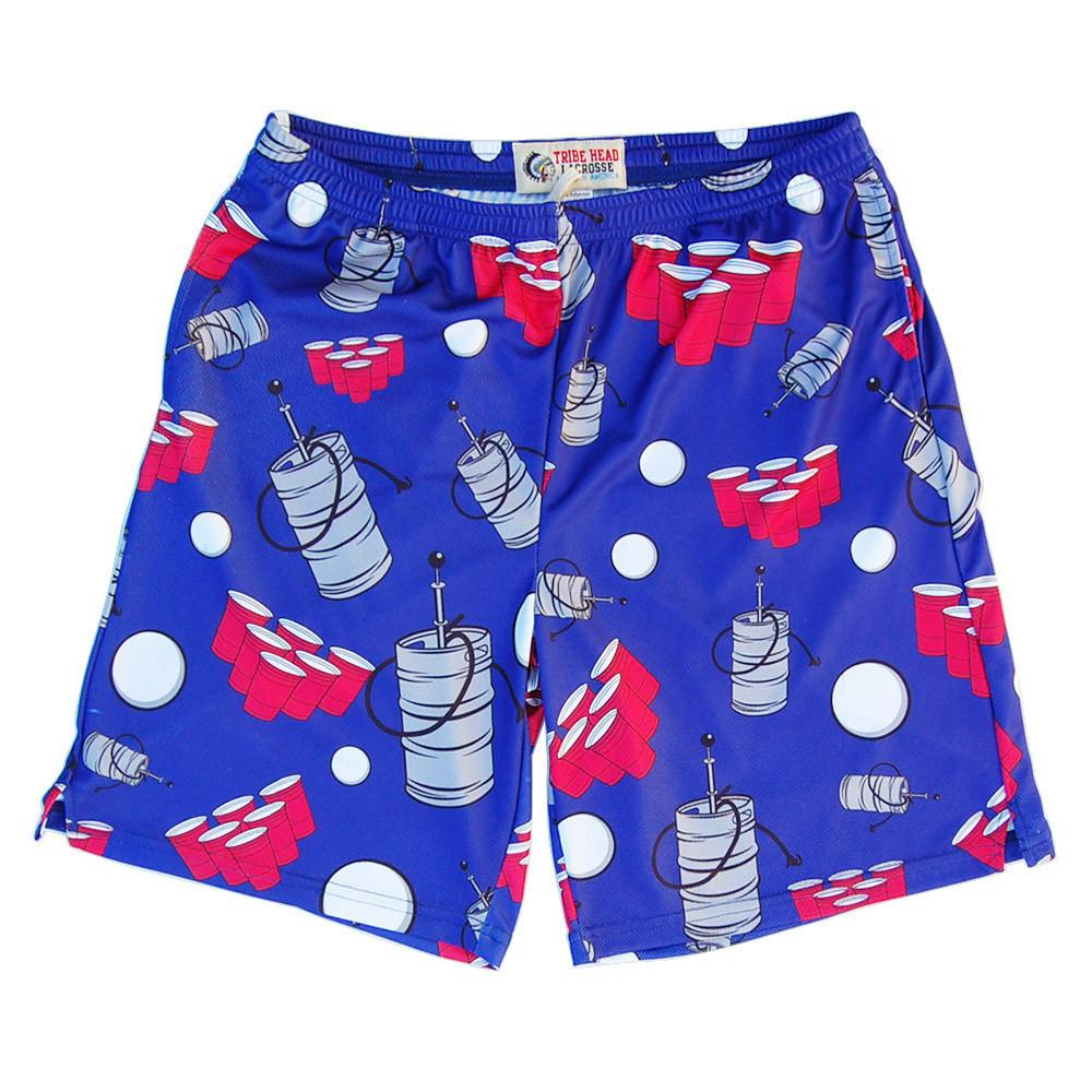 Beer Pong Sublimated Lacrosse Shorts - Dark Blue in Lapis by Tribe Lacrosse