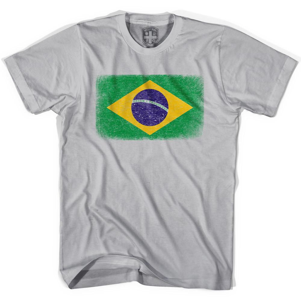 Brazil Flag Vintage Soccer T-shirt in Cool Grey by Neutral FC