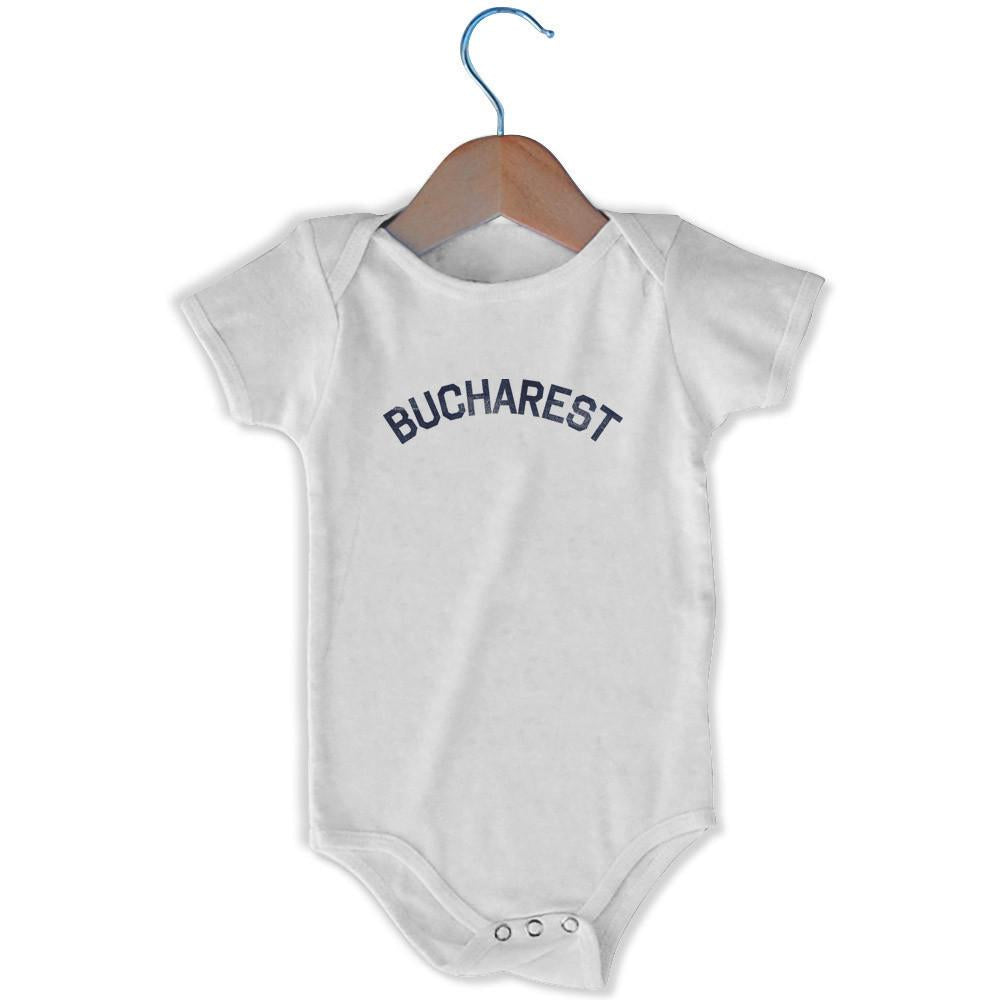Bucharest City Infant Onesie in White by Mile End Sportswear