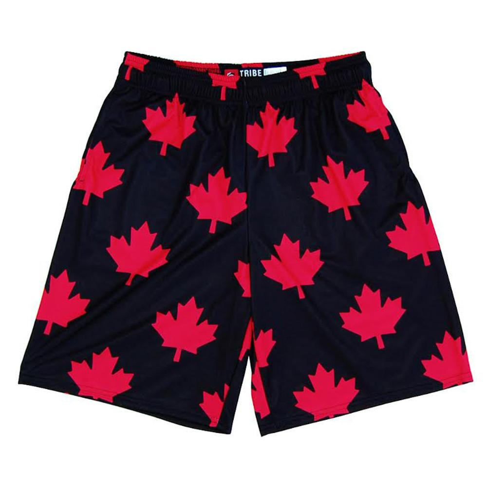 Canada Maple Leafs Sublimated Lacrosse Shorts in Black & Red by Tribe Lacrosse