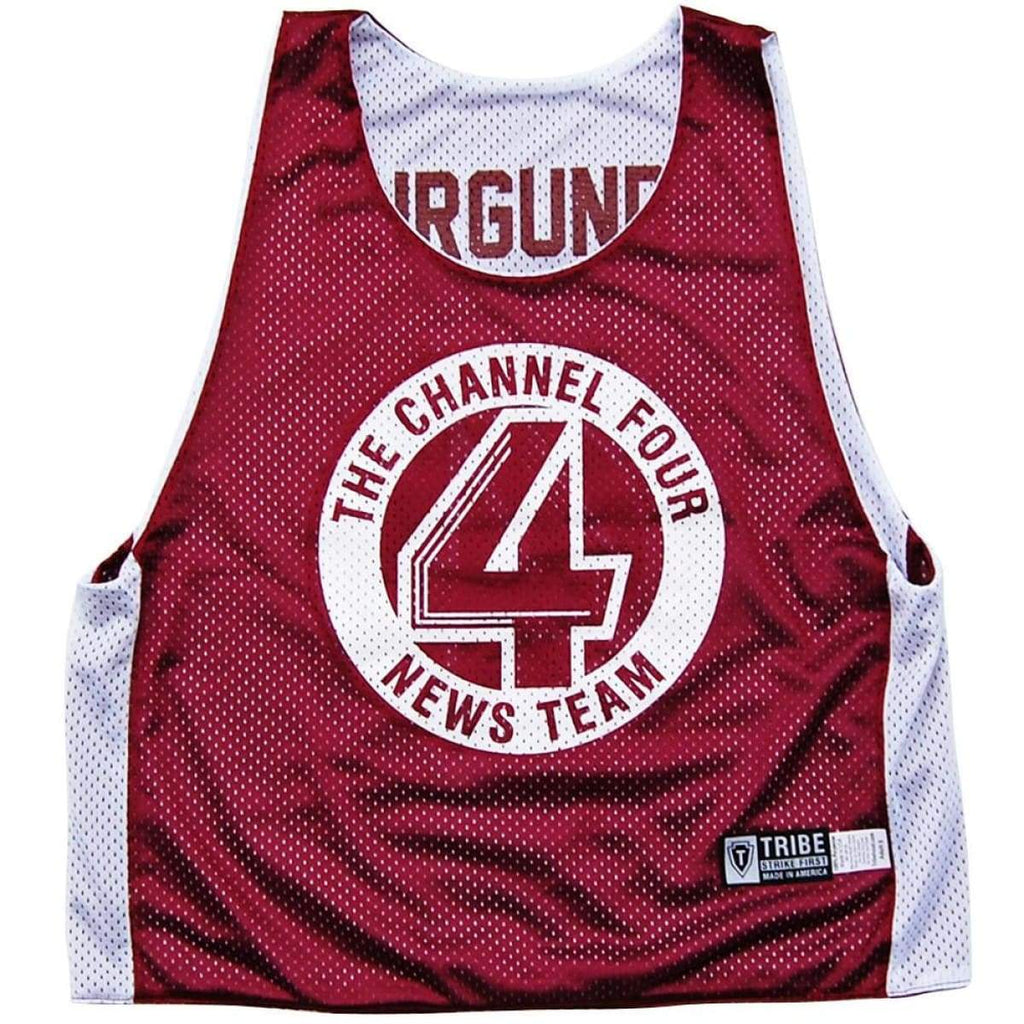 Channel 4 News Team Lacrosse Pinnie - Burgundy and White / Youth X-Small - Basketball Pinnie