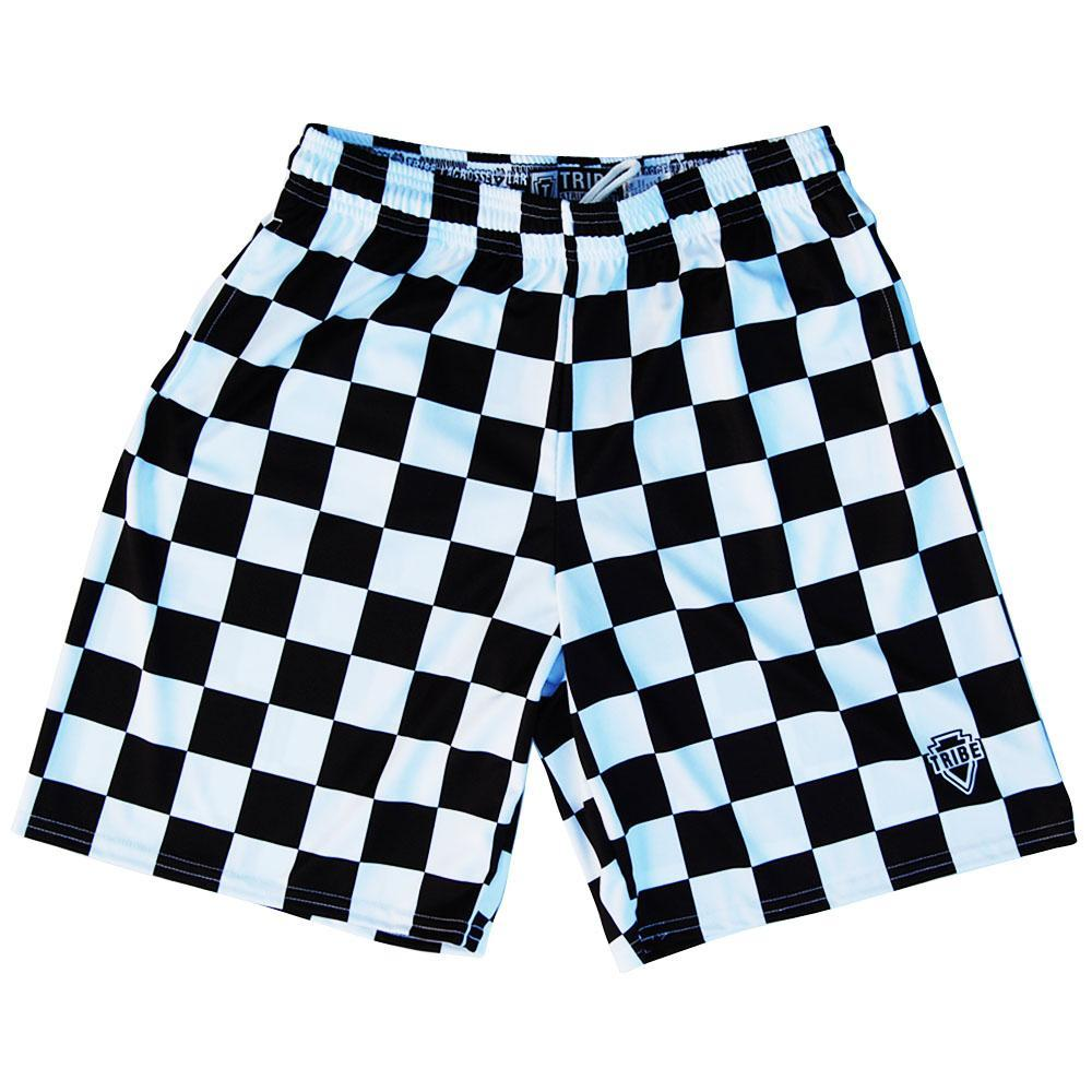 Black and White Checkerboard Lacrosse Shorts by Tribe Lacrosse