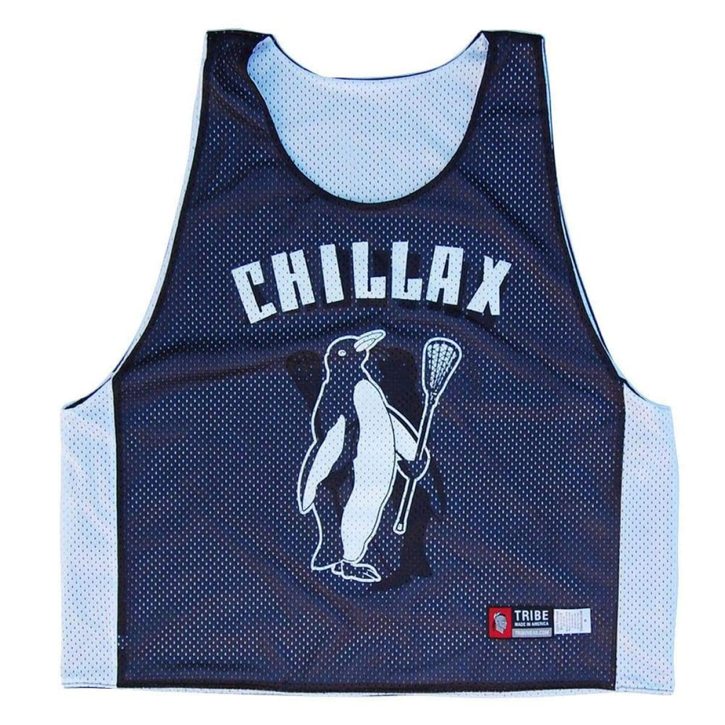 Chillax Penguin Lacrosse Pinnie - Black & White / Adult X-Small - Graphic Mesh Lacrosse Pinnies