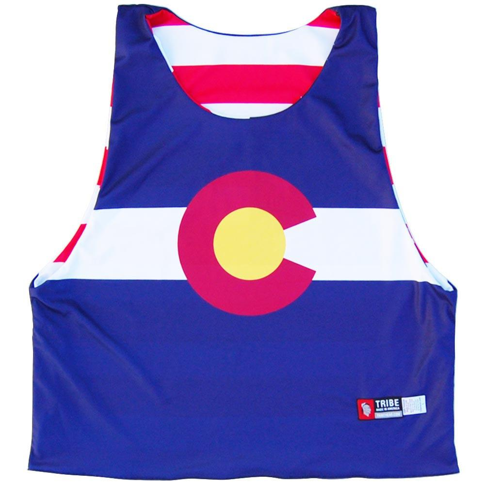 Colorado Flag and American Flag Lacrosse Pinnie in Navy & Red by Tribe Lacrosse