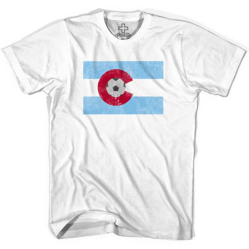 Colorado Soccer Flag Soccer T-shirt in White by Neutral FC