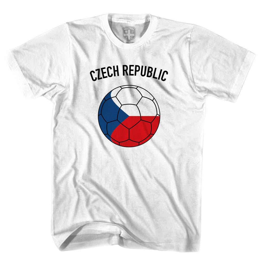 Czech Republic Soccer Ball T-shirt in White by Neutral FC
