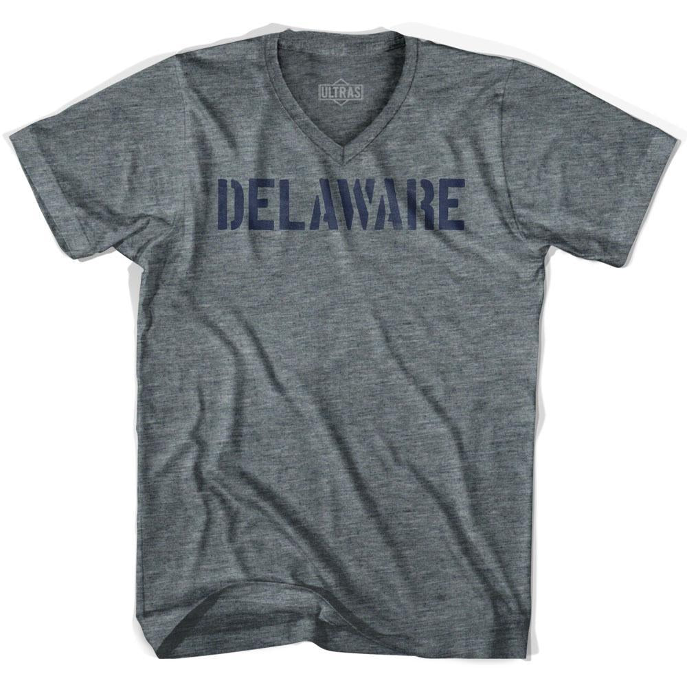 Delaware State Stencil Adult Tri-Blend V-neck T-shirt by Ultras