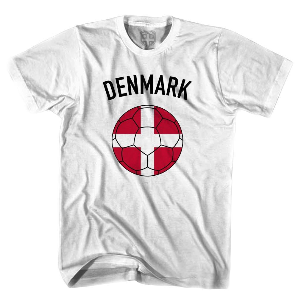 Denmark Soccer Ball T-shirt in White by Neutral FC