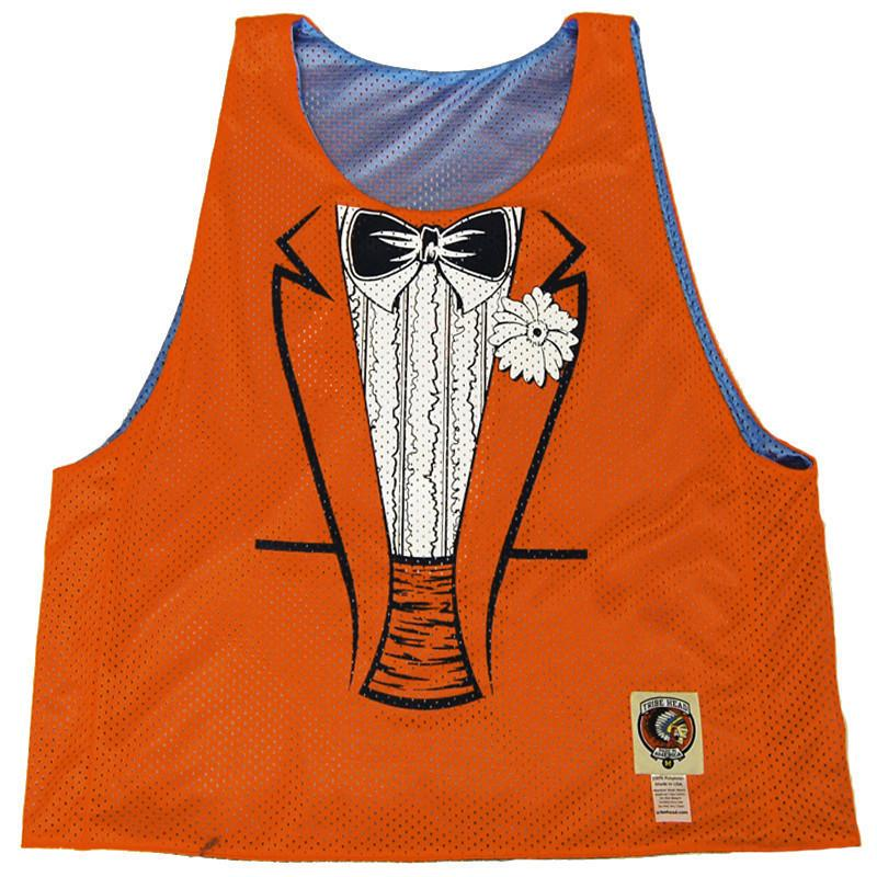 Dumb and Dumber Tuxedo Sublimated Reversible Lacrosse Pinnie in Orange/Blue by Tribe Lacrosse