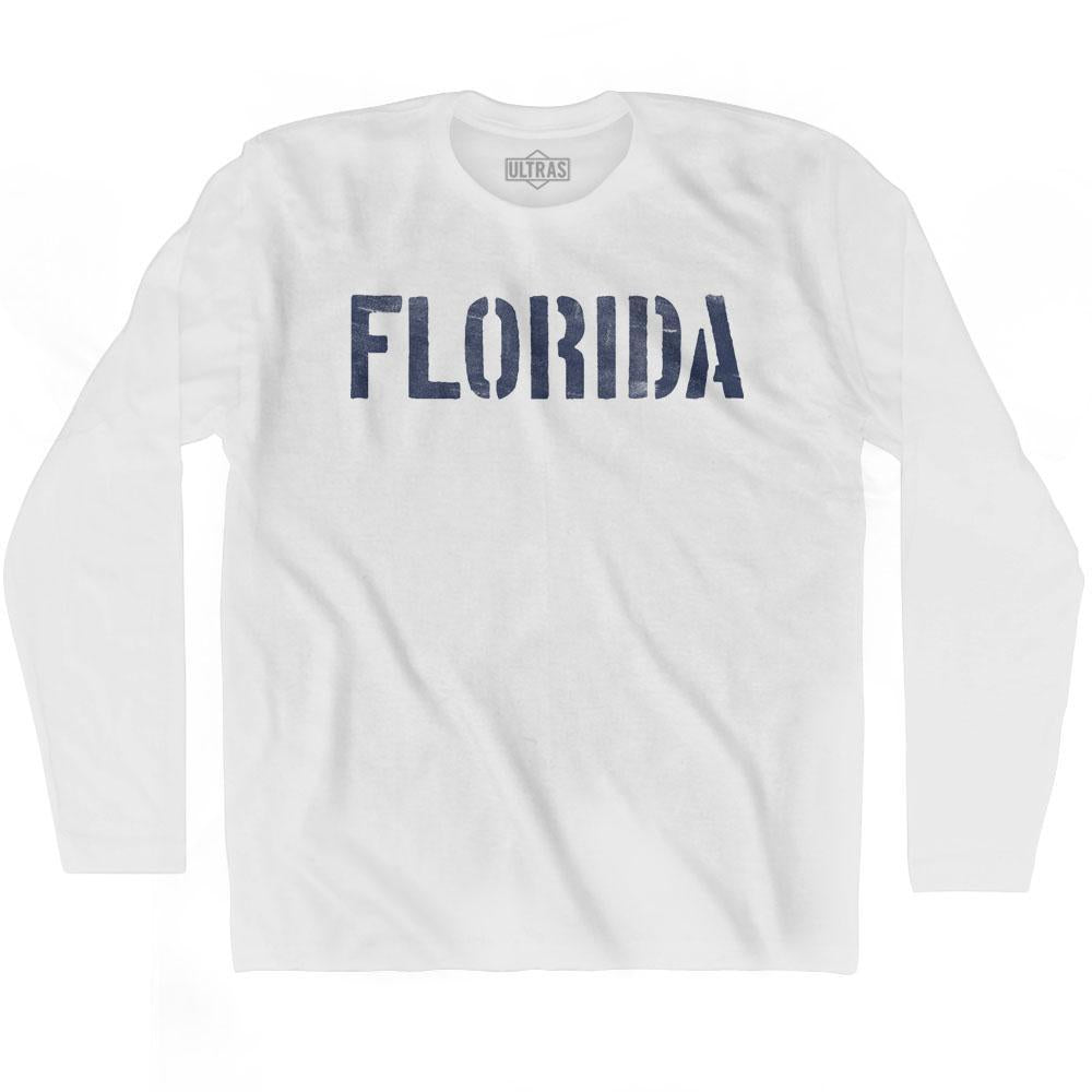 Florida State Stencil Adult Cotton Long Sleeve T-shirt by Ultras
