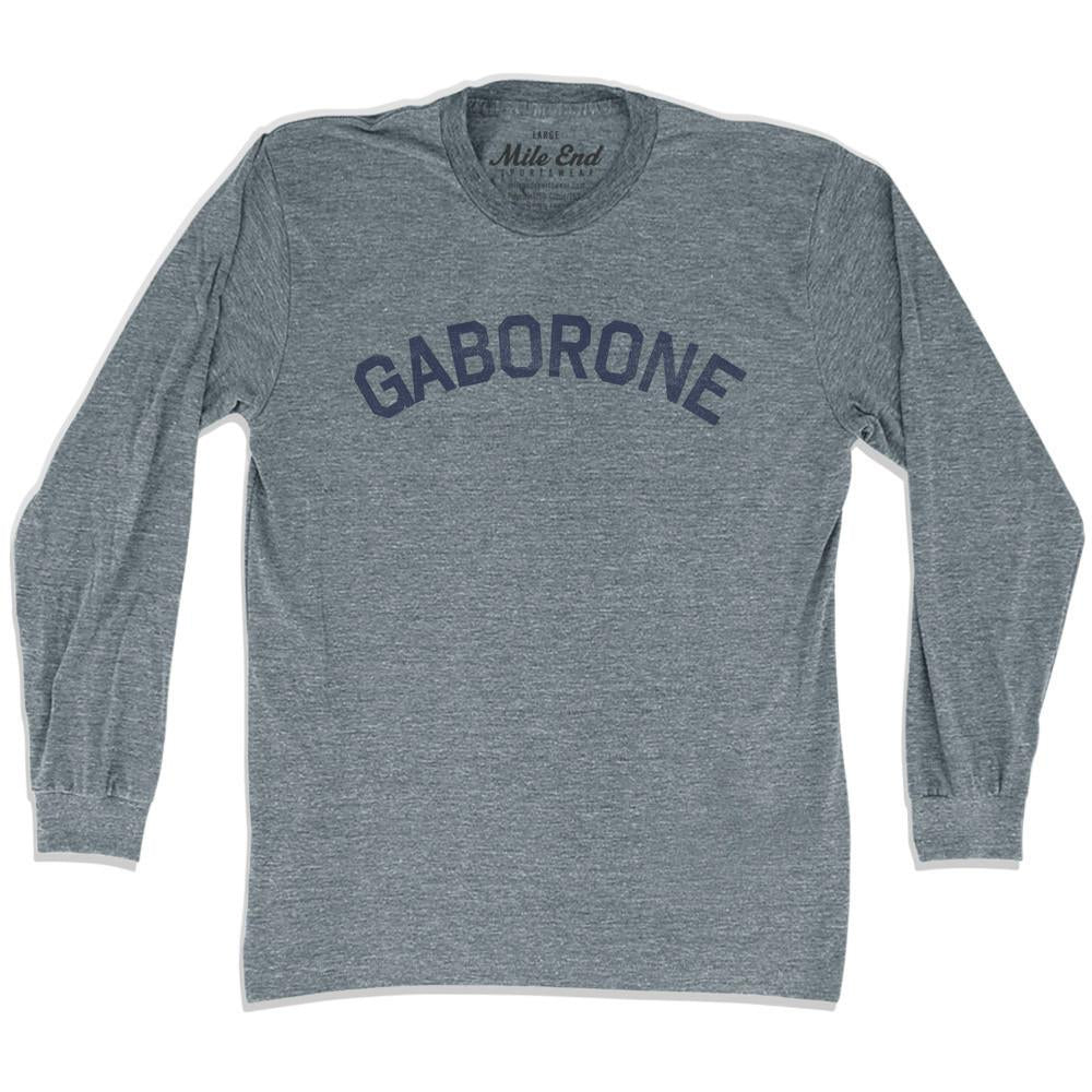 Gaborone City Vintage Long Sleeve T-shirt in Athletic Grey by Mile End Sportswear