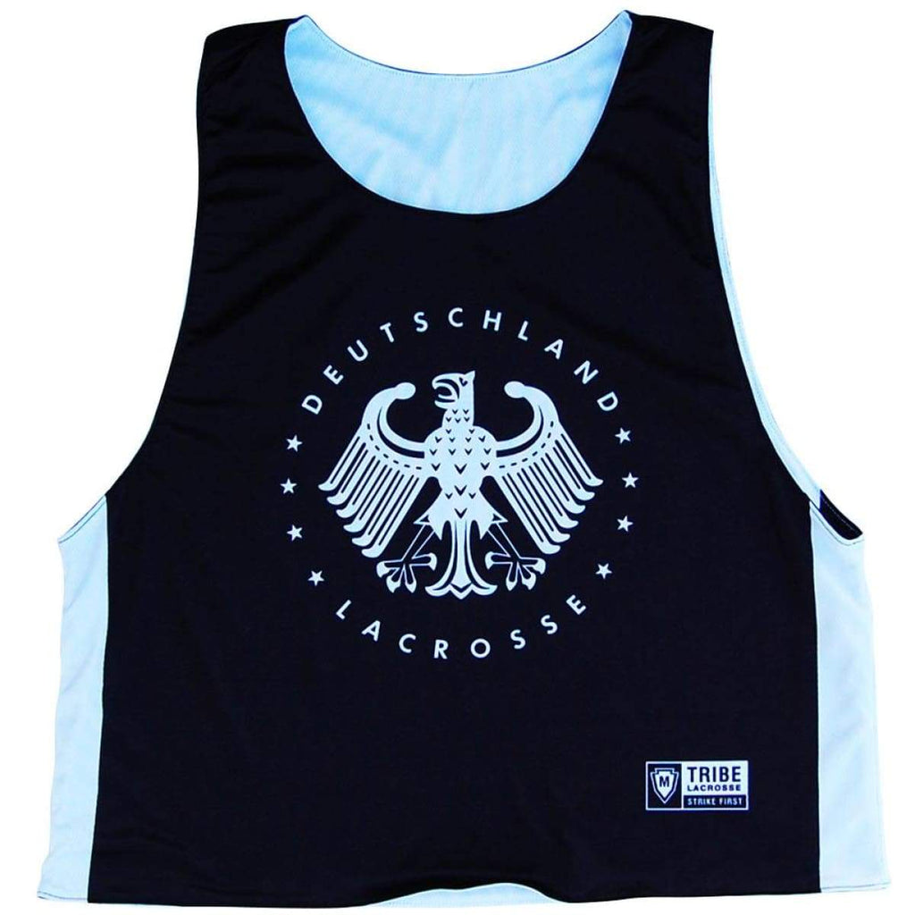Germany Deutschland Lacrosse Reversible Pinnie - Black and White / Youth X-Small / No - Graphic Lacrosse Pinnies
