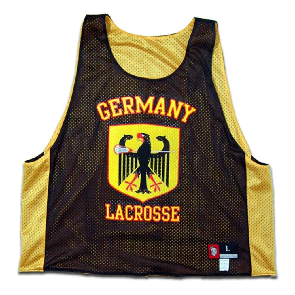 Germany Lacrosse Pinnie - Yellow / Youth X-Large - Graphic Mesh Lacrosse Pinnies