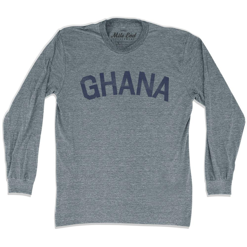 Ghana City Vintage Long Sleeve T-shirt in Athletic Grey by Mile End Sportswear