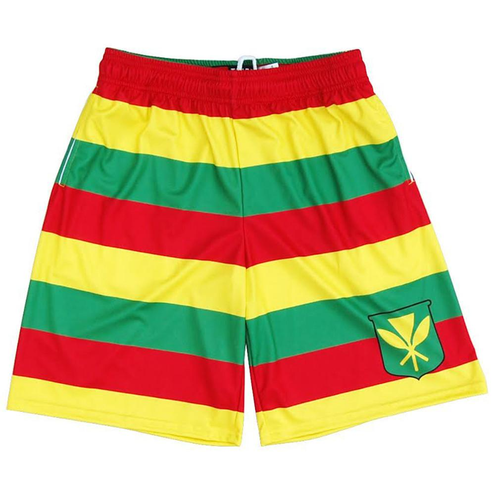 Hawaii Kanaka Maoli Flag Lacrosse Shorts in Red / Yellow by Tribe Lacrosse