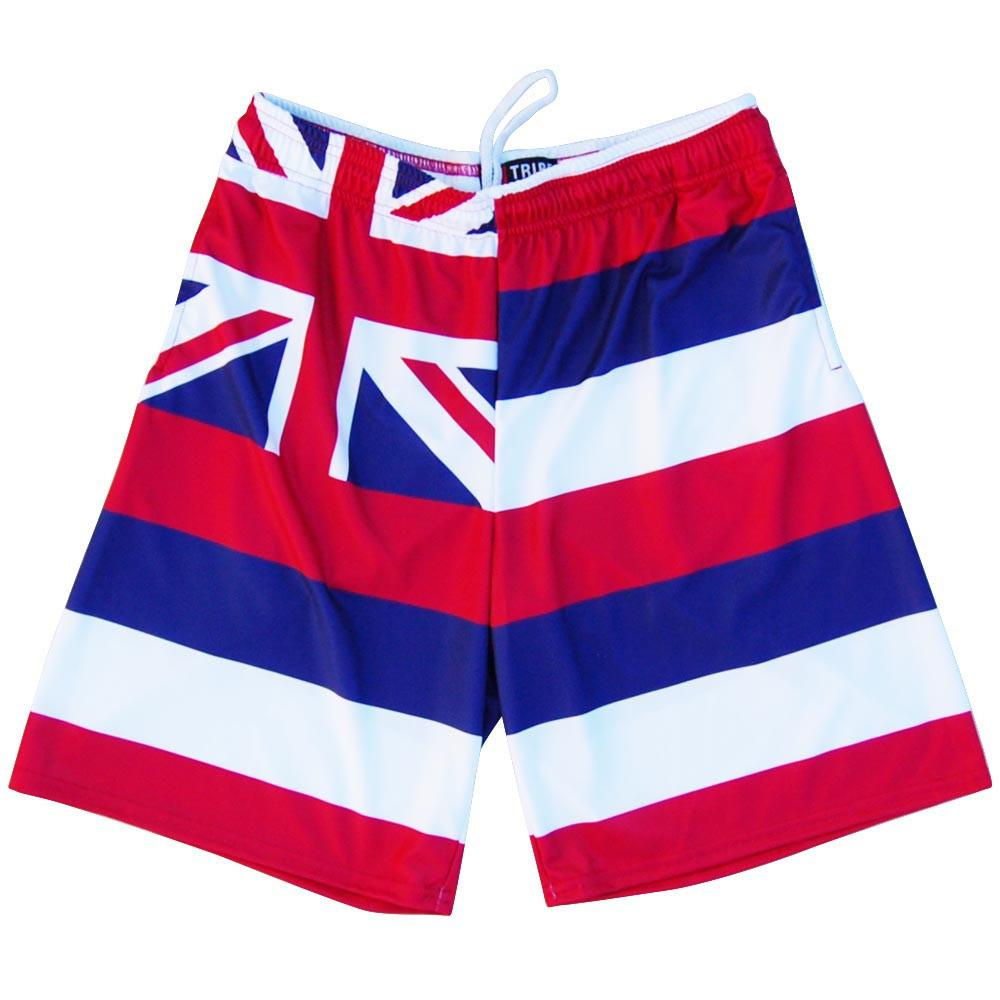Hawaii Flag Lacrosse Shorts in Red by Tribe Lacrosse