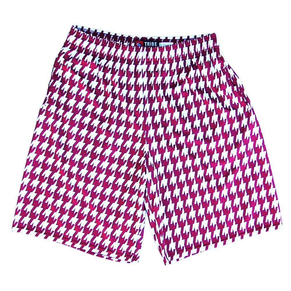 Houndstooth Graphic Sublimated Lacrosse Shorts in Cardinal / White by Tribe Lacrosse