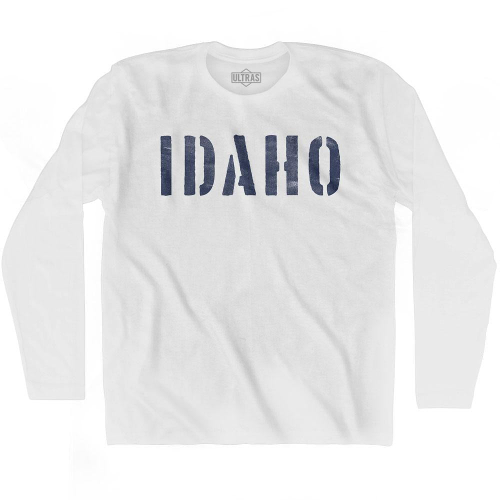Idaho State Stencil Adult Cotton Long Sleeve T-shirt by Ultras