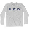 Illinois State Stencil Adult Cotton Long Sleeve T-shirt by Ultras