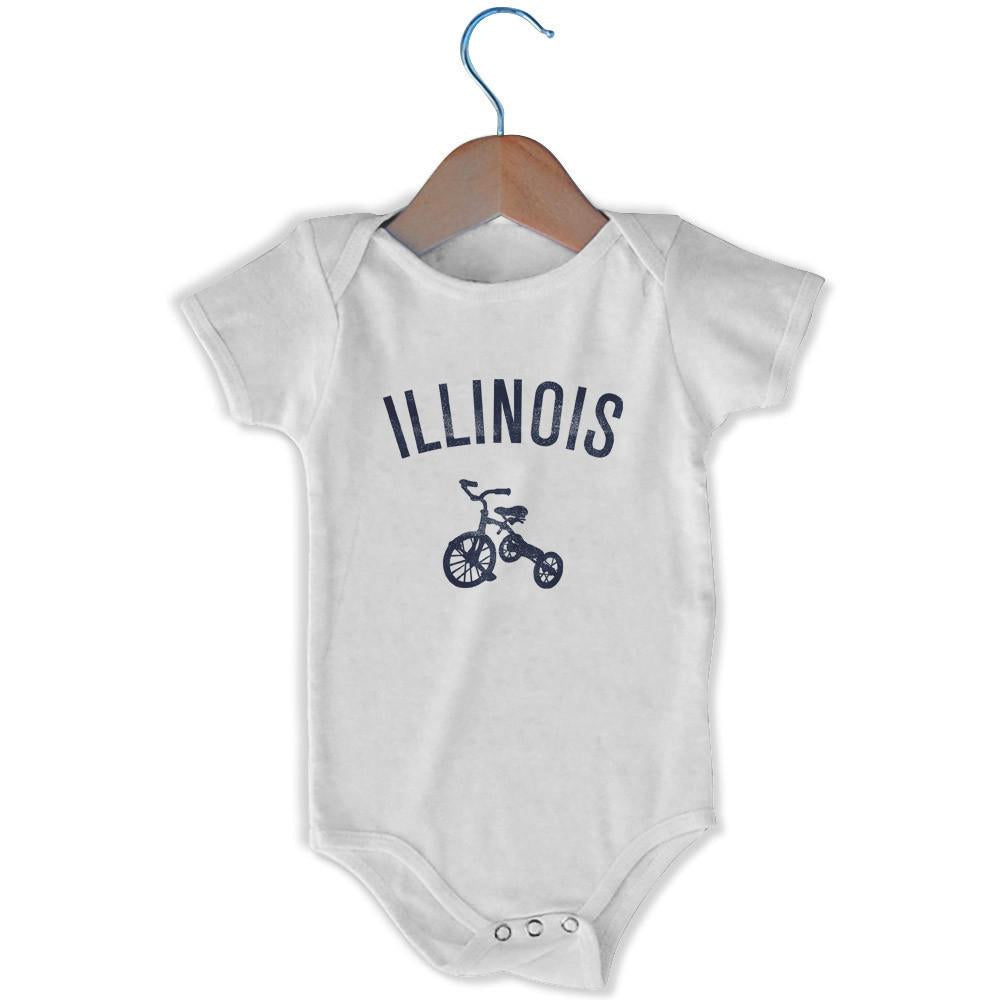Illinois City Tricycle Infant Onesie in White by Mile End Sportswear