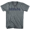 Indiana State Stencil Adult Tri-Blend V-neck T-shirt by Ultras