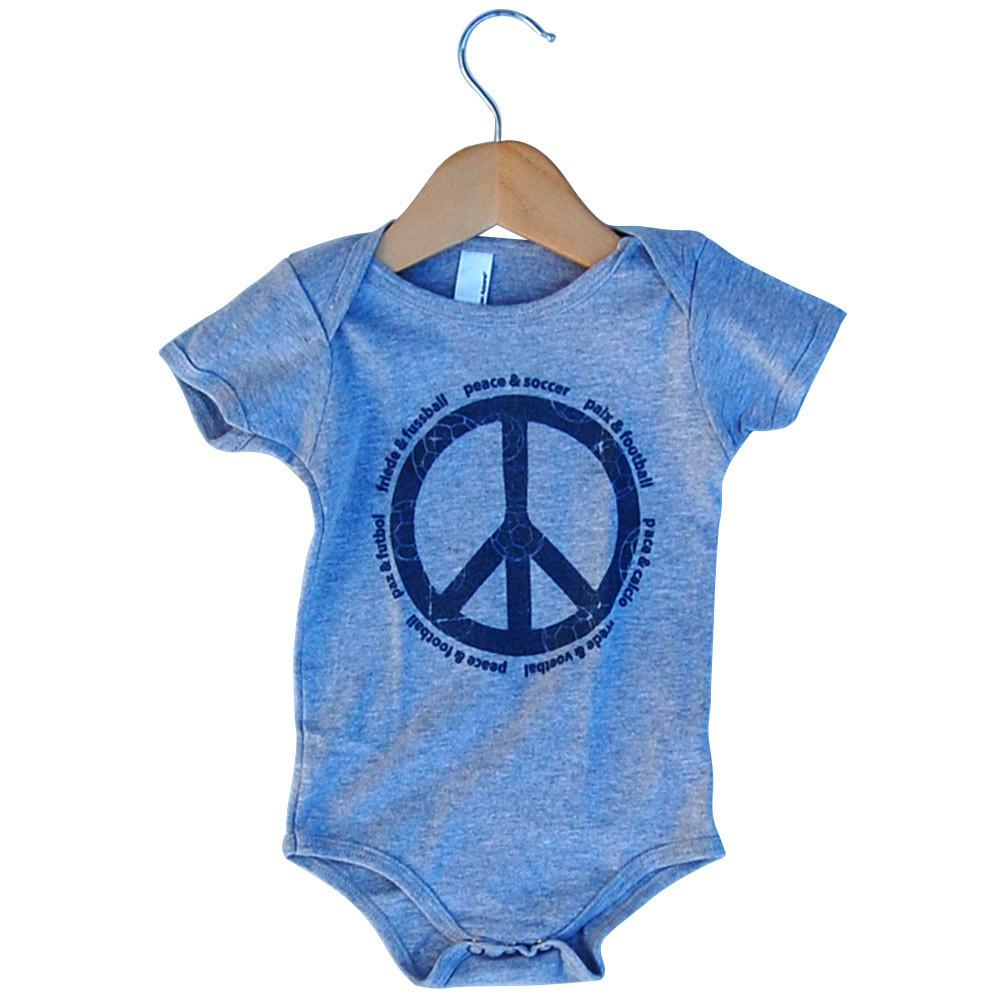 Infant Peace and Soccer Onesie in Grey Heather by Neutral FC