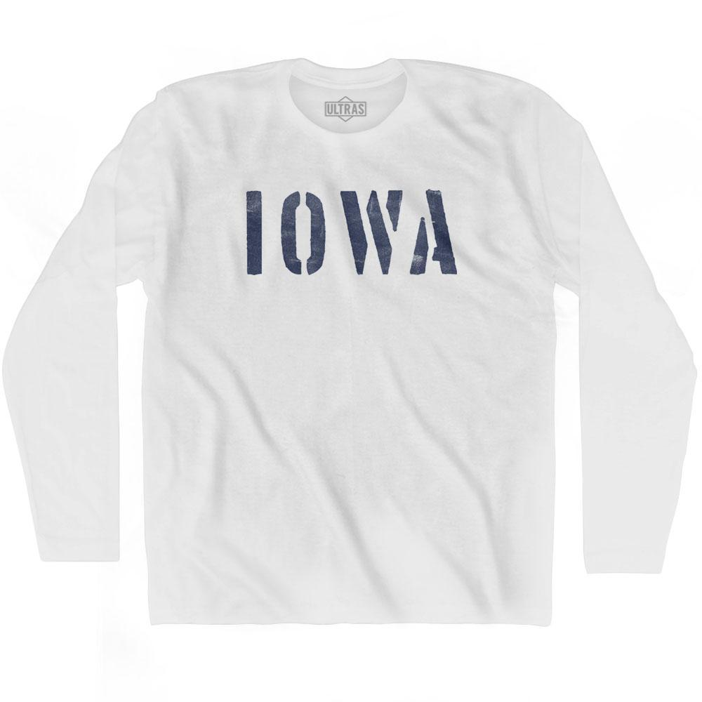 Iowa State Stencil Adult Cotton Long Sleeve T-shirt by Ultras