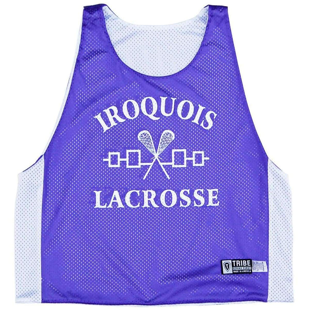 Iroqouis Lacrosse Pinnie - Purple and White / Youth Large - Graphic Mesh Lacrosse Pinnies