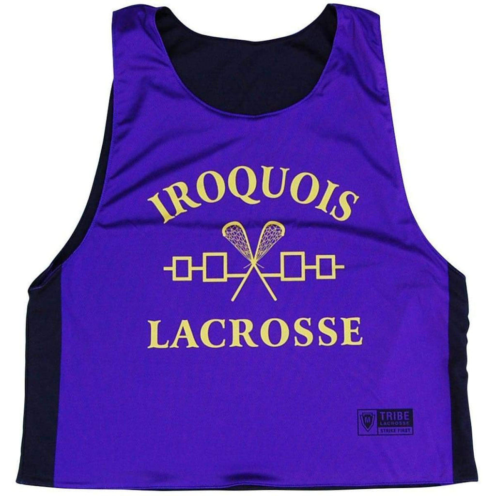Iroquois Lacrosse Reversible Pinnie - Black and Purple / Youth X-Small / No - Graphic Lacrosse Pinnies