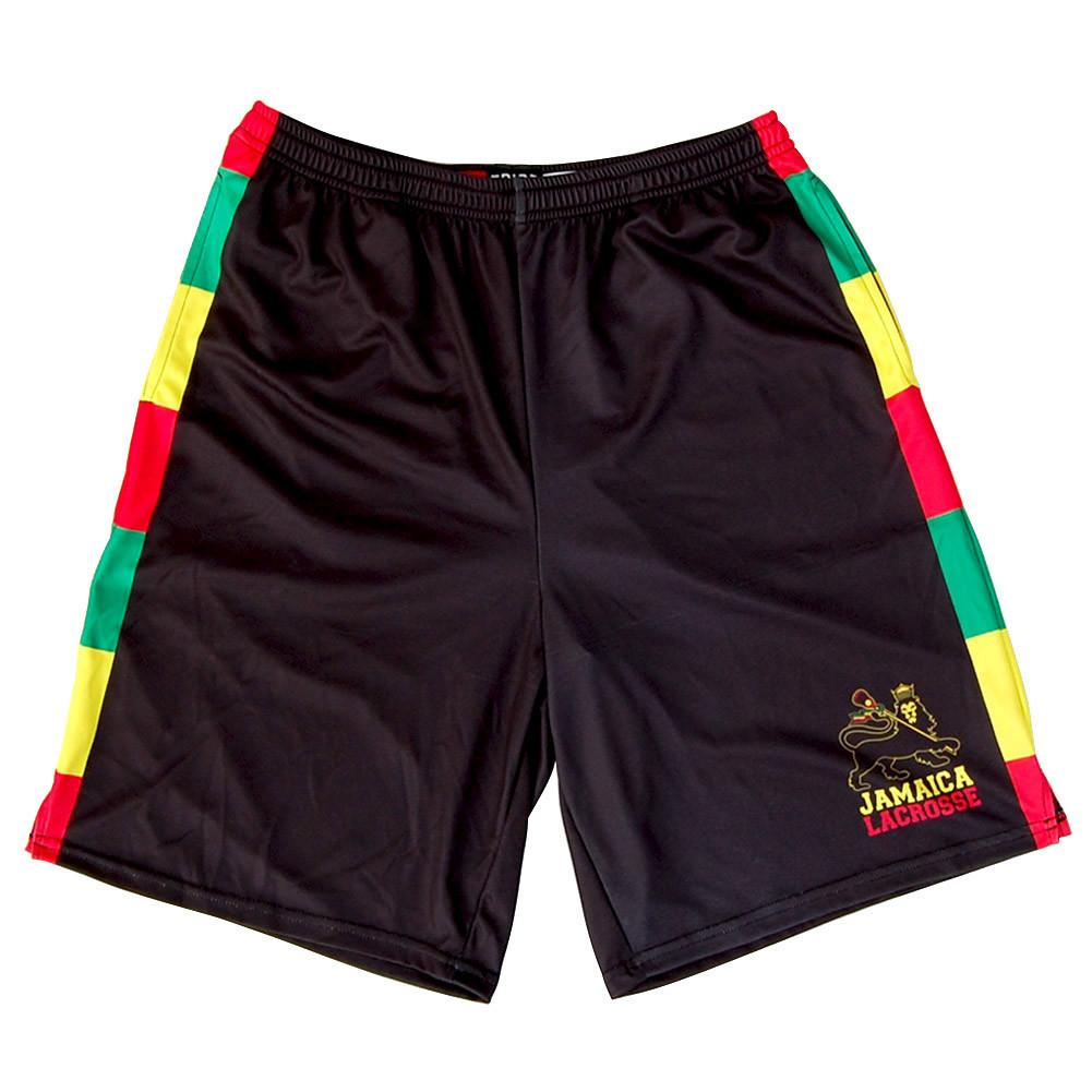Jamaica Lions Sublimated Lacrosse Shorts in Black by Tribe Lacrosse