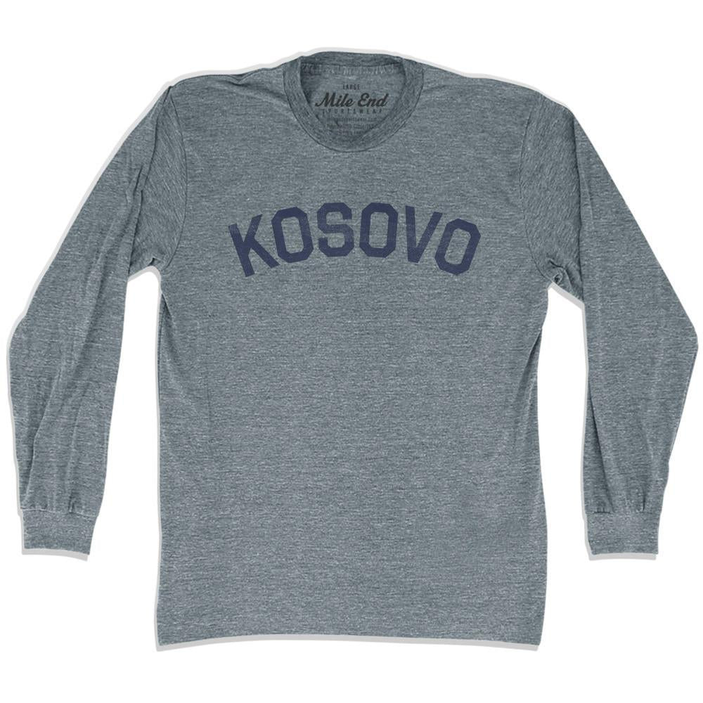 Kosovo City Vintage Long Sleeve T-shirt in Athletic Grey by Mile End Sportswear