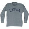 Latvia City Vintage Long Sleeve T-shirt in Athletic Grey by Mile End Sportswear
